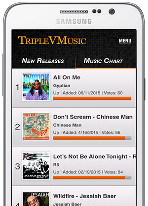 TripleVmusic App Screen Render 2015