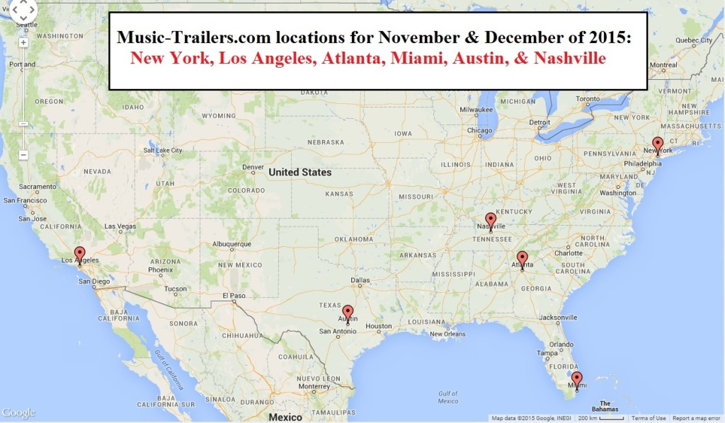 Music-Trailers will be available in the following cities: New York, Los Angeles, Miami, Atlanta, Austin, & Nashville